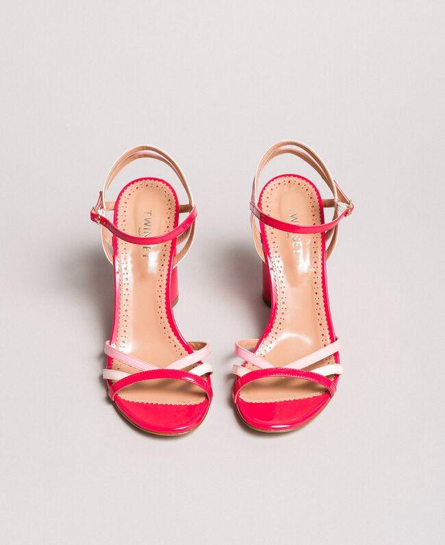 Sandales en cuir verni avec bride Rose Bouton Femme 191TCP014-04