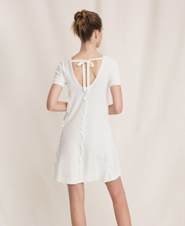 Платье с отстрочками и рюшами Белый женщина 201ST3066-03