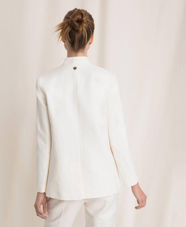 Blazer en lin mélangé Blanc Neige Femme 201TP2252-03