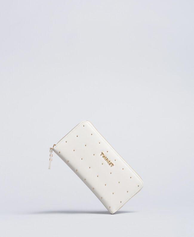 Geldbörse aus Leder mit Nieten Weiß Schnee Frau AA8PA7-01