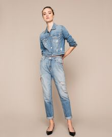 Jean girlfriend strassé Bleu Denim Femme 201MP2275-04