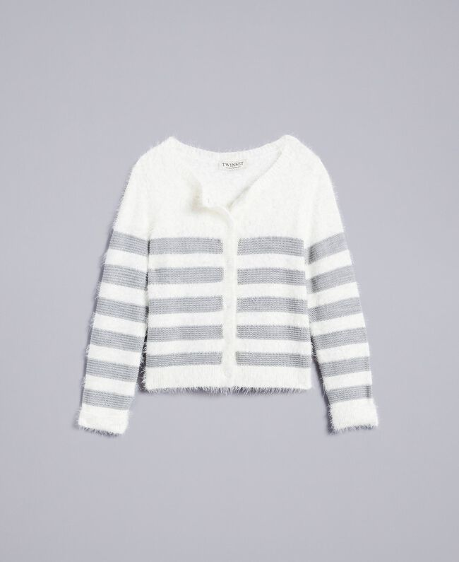 "Cardigan in misto lana a righe Bicolor Off White / Grigio ""Grey Stone"" Bambina GA83E2-01"