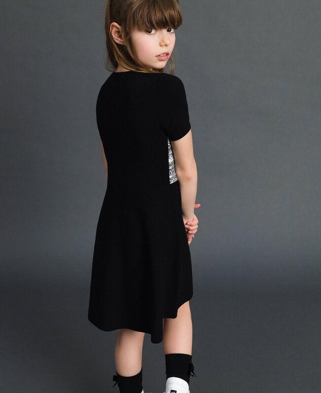 Robe en maille jacquard avec cœur Jacquard Noir / Blanc Cassé Enfant 192GJ3161-03