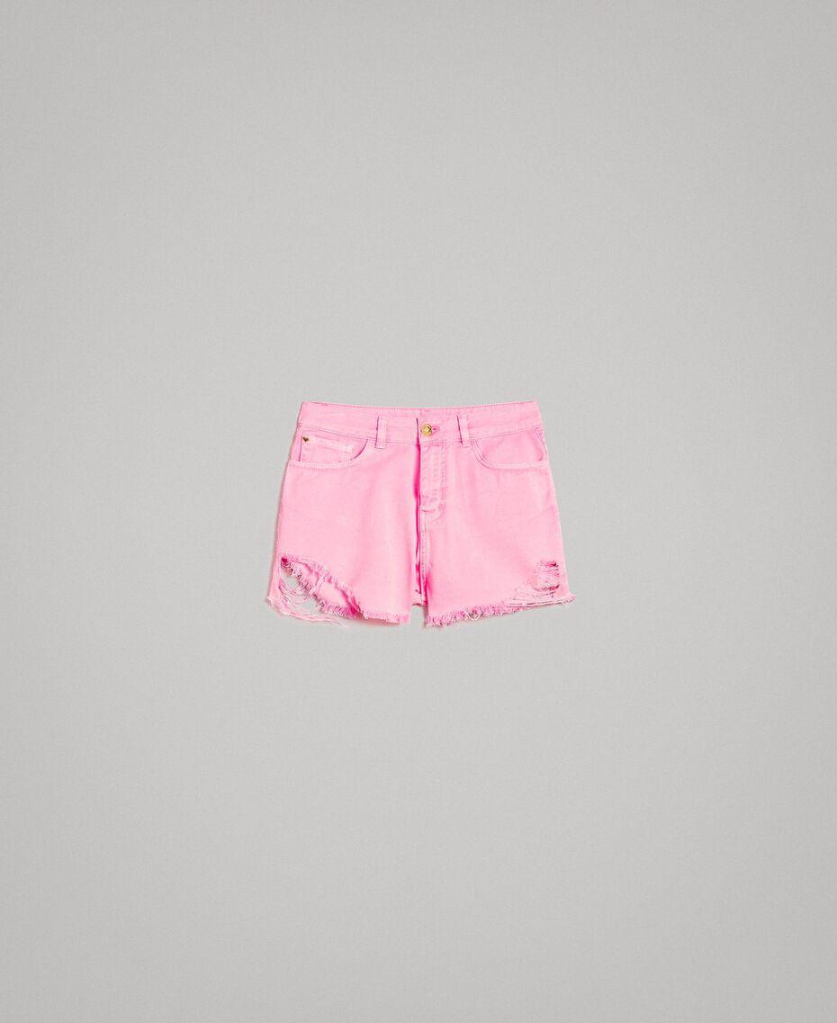 Short en coton aux détails déchirés Rose Fluo Femme 191MT2191-0S