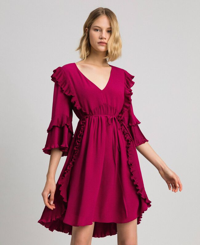Crêpe de Chine silk blend dress Beet Red Woman 192TP2102-01