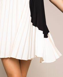 """Pleated crêpe de Chine dress Two-tone """"Silk"""" White / Black Woman 201ST2011-04"""