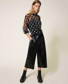 Patent leather cropped trousers Black Woman 202LI2JFF-01