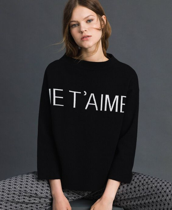 Boxy jumper with jacquard logo