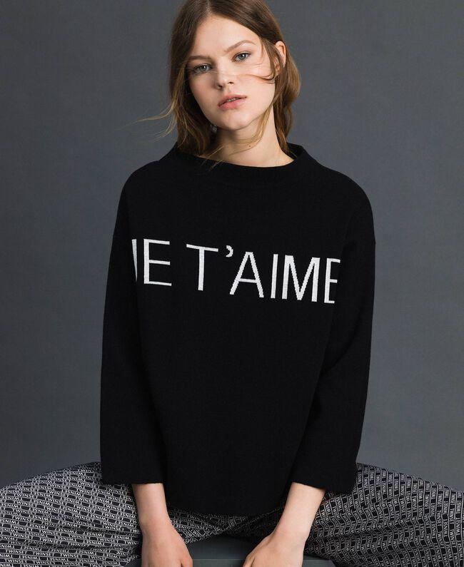 Pull boxy avec logo jacquard Jacquard Noir / Blanc Neige Femme 192TP332F-01