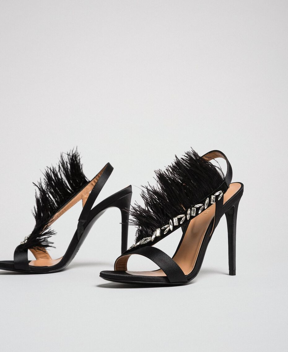Satin sandals with feathers Black Woman 192TQP050-01