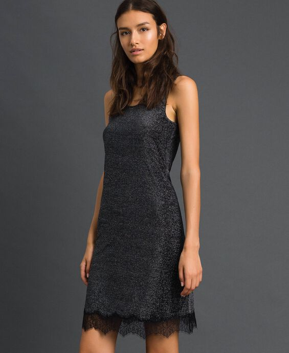 Lurex slip with lace