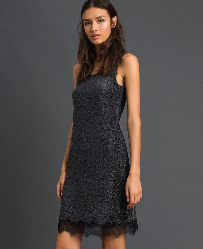 Nuisette en lurex avec dentelle Noir Lurex Argent Femme 192LL6BNN-01