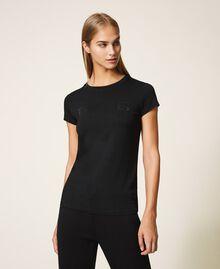 T-shirt avec logo strassé Noir Femme 202LL2CRR-01