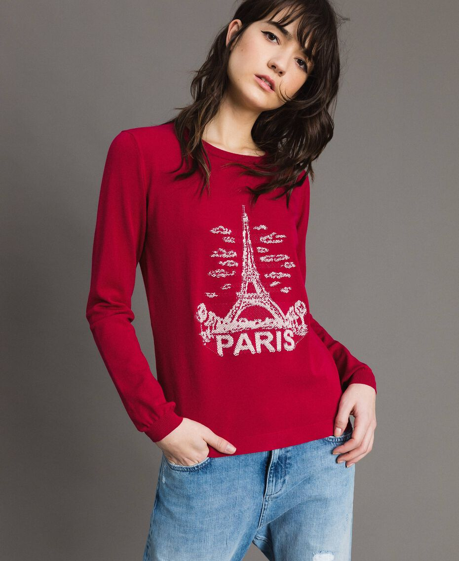 "Paris themed inlay top ""Anemone"" Fuchsia Woman 191TP3381-01"