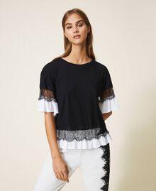 T-shirt con pizzo e balza Bicolor Nero / Bianco Ottico Donna 202TP2671-01