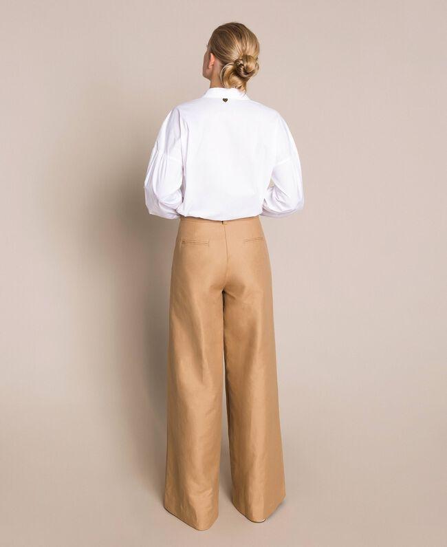 Weite Hose aus Leinenmischung Dünenbeige Frau 201TP2257-03