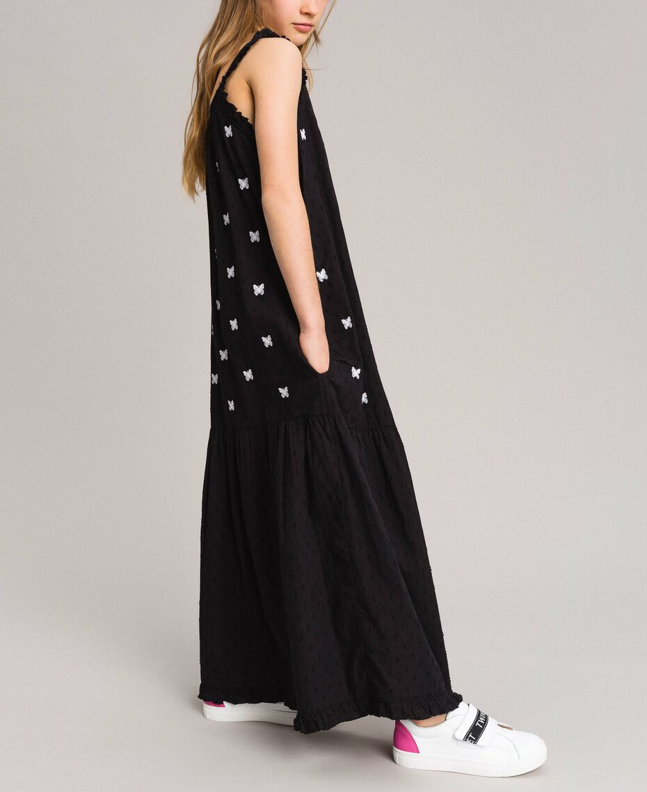 Plumetis long dress with embroideries Black / Optical White Embroidery Child 191GJ2372-02