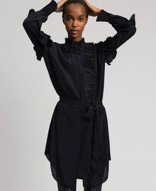 Kleid aus Crêpe de Chine aus Seidenmischung Schwarz Frau 192TP2101-01