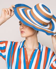 "Wide brim straw hat Multicolour ""Bay"" Blue / ""Choco"" Brown / Optical White Woman 201LM4ZPP-0S"