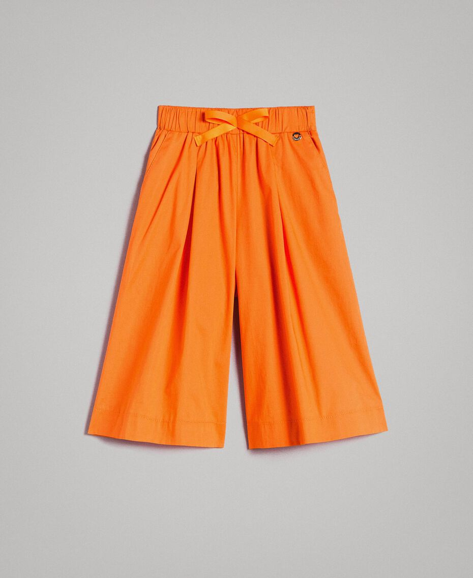 "Jupe-pantalon en popeline stretch ""Orange Estivale"" Enfant 191GJ2410-01"