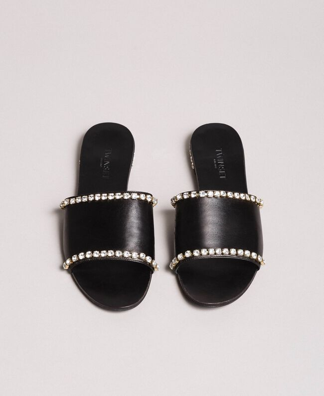 Leather sandals with rhinestones Black Woman 191TCT094-05