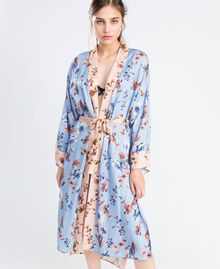 Long floral print dressing gown Pink Flower Mix Print Woman IA8EVV-0S