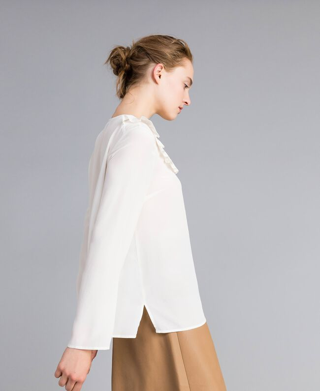 Silk blouse with micro ruches White Snow Woman PA82EJ-03