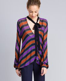 Blusa in georgette a righe Stampa Riga Multicolor Donna TA8292-02