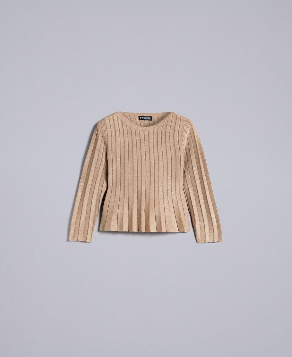 Pullover aus Lurexgarn mit Plissee Lurex Kamelbraun Frau PA83CC-0S