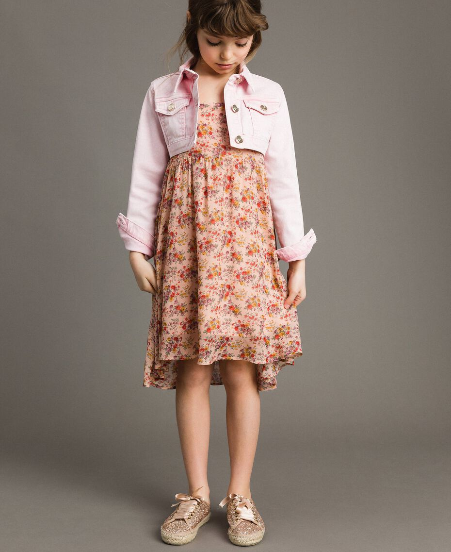 "Bull délavé cropped jacket ""Crystal Pink"" Child 191GJ2492-02"