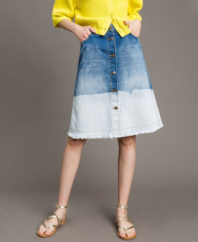 Dip-dye denim skirt Bleached Shades Woman 191TT2054-01