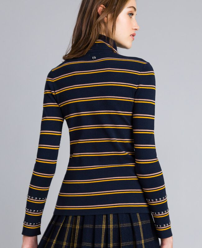 Two-tone striped viscose mock neck jumper Night Blue / Golden Yellow / Caramel Stripe Woman YA83DD-03