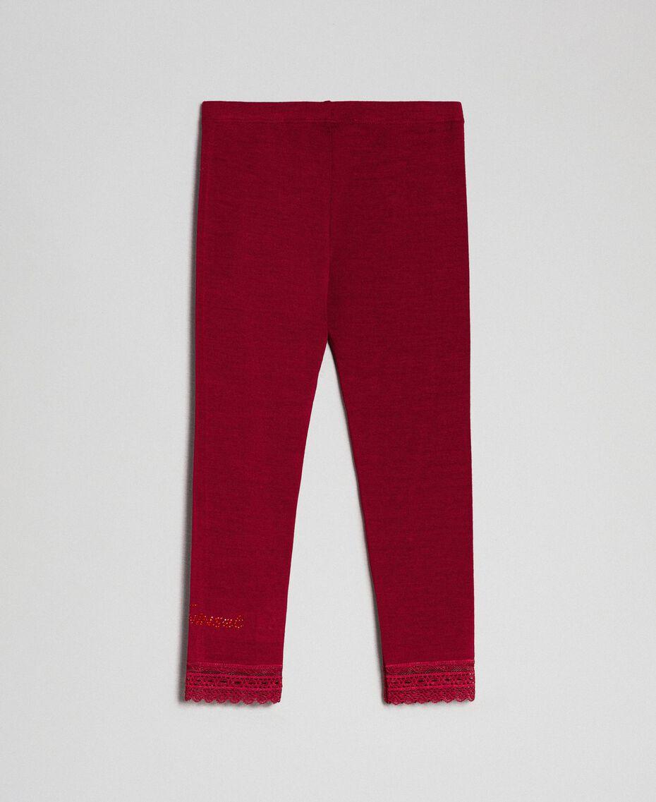 Leggings con pizzo e logo strass Rosso Ruby Wine Bambina FCN2D3-0S