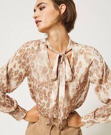 "Animal print satin blouse ""Dune"" Beige Animal Print Woman 202MP243D-01"