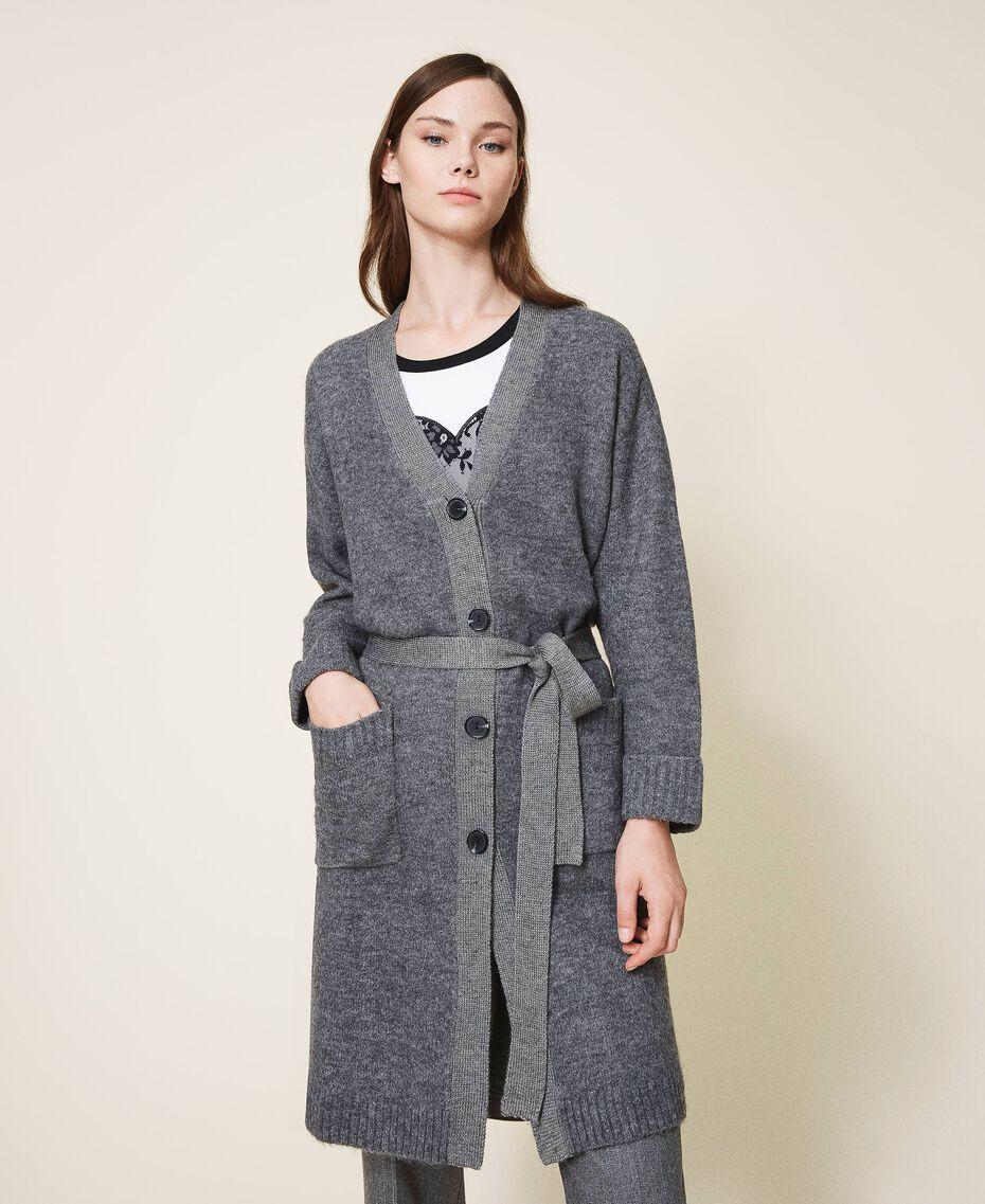 Manteau en maille avec boutonnière et ceinture Gris moyen chiné Femme 202ST3102-01