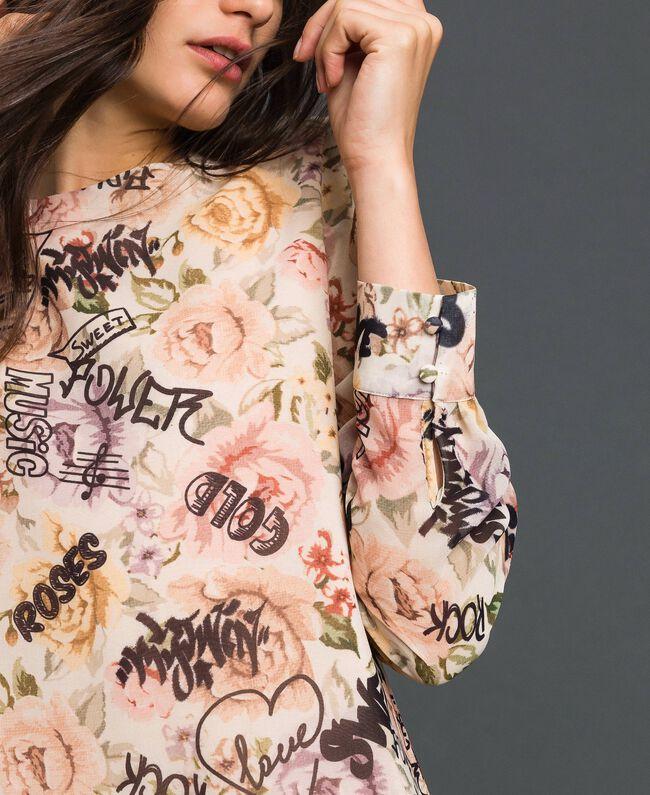 Kleid mit Blumen-Graffiti-Print Blumen-Graffiti-Print Vanille Frau 192MP222K-04