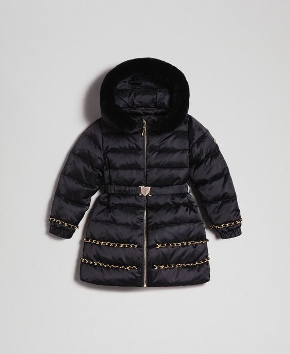 Long puffer jacket with real down