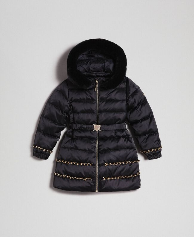 Long puffer jacket with real down Black Child 192GB2060-01