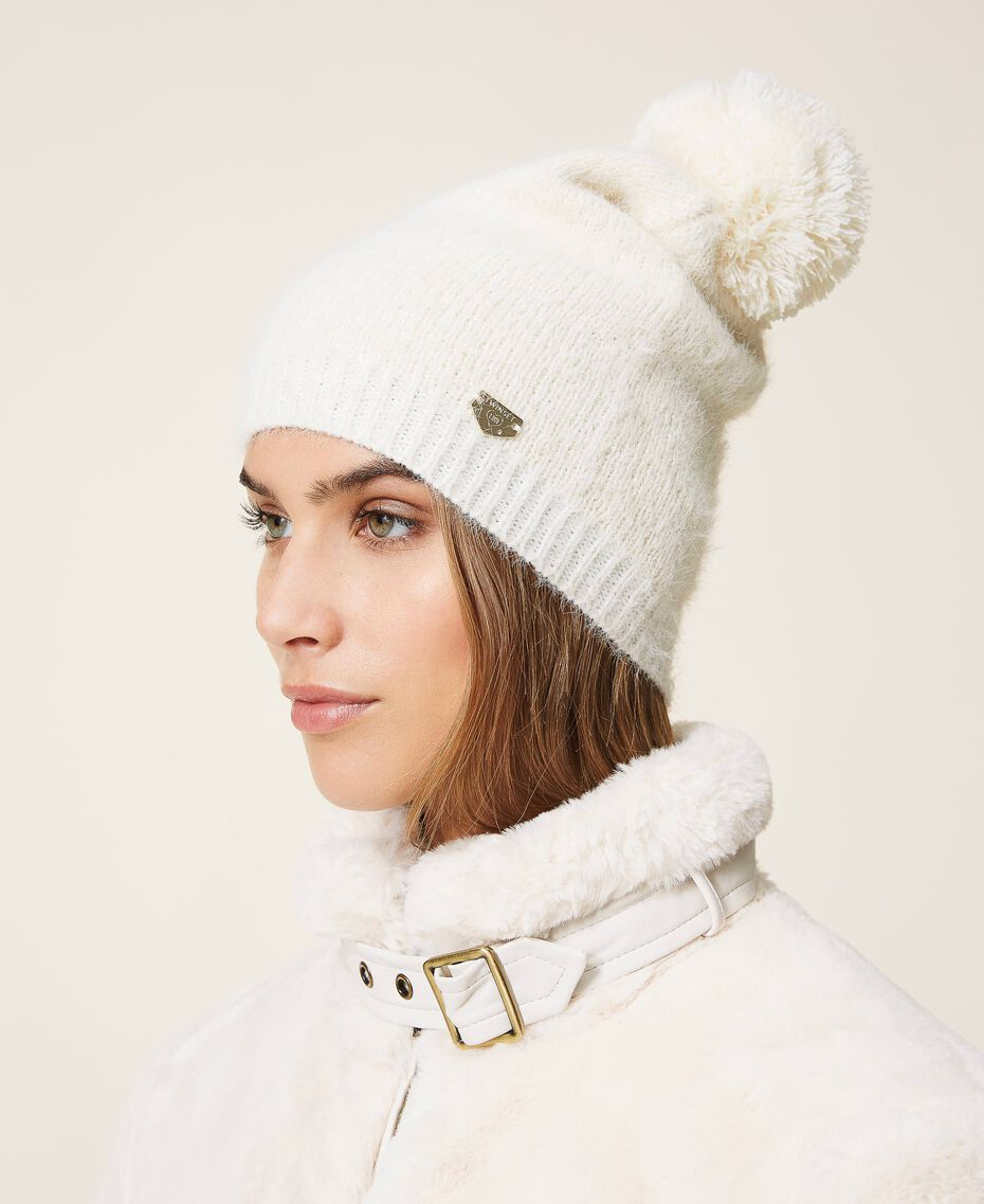 Mottled knit hat Ivory Woman 202LI4ZRR-0S