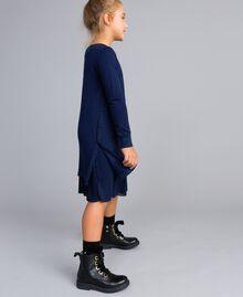 Strickkleid und Unterkleid aus Jersey Blackout Blau Kind GA83B2-02
