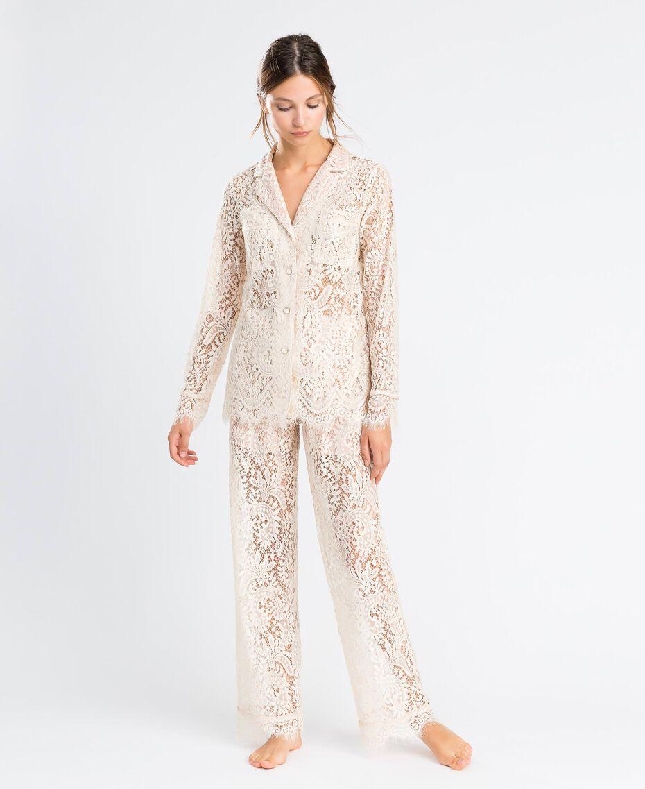 Pantaloni in pizzo smerlato Blanc Donna IA8CRR-0S