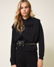 Belt with chain and Mini Rebel purse Black Woman 202TA434B-0S