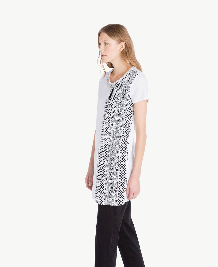 Embroidered maxi T-shirt White Woman TS829R-02