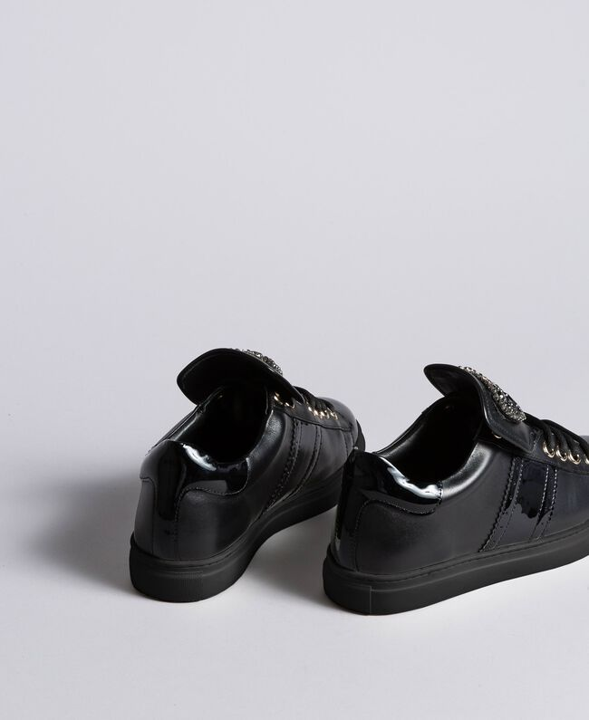 Leather sneakers with heart patch Black Woman CA8PB1-03