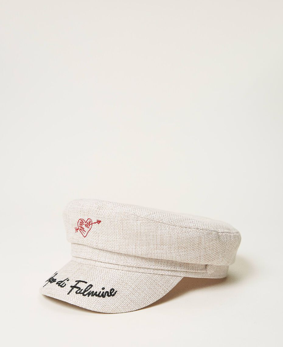 Canvas cap with visor Beige Cremino Woman 211LM4ZSS-01