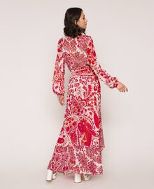 "Paisley print georgette skirt ""Lava"" Red Cashmere Print/ ""Blossom"" Pink Woman 201TP2535-03"