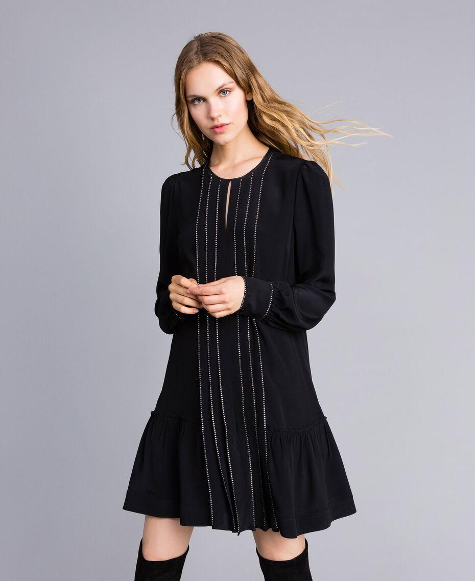 Robe courte en soie mélangée avec strass Noir Femme TA8234-01