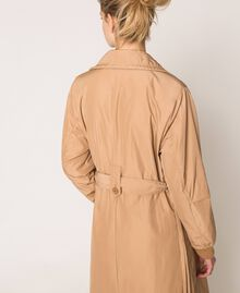 Double breasted taffeta trench coat Light Brown Woman 201ST2072-05