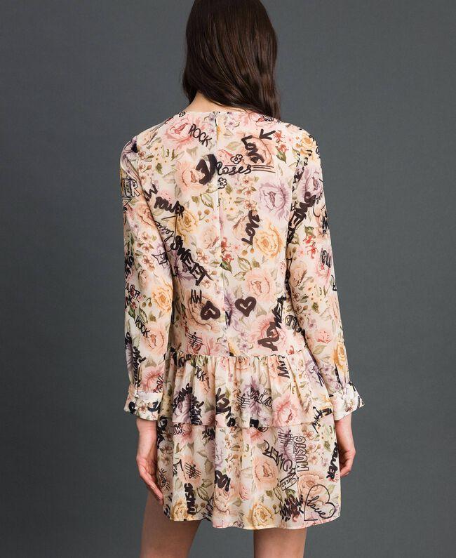 Kleid mit Blumen-Graffiti-Print Blumen-Graffiti-Print Vanille Frau 192MP222K-03