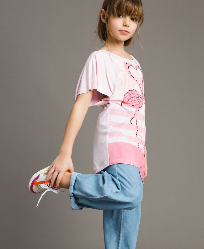 "Striped jersey maxi T-shirt with rhinestones ""Crystal Pink"" Melange Child 191GJ2721-03"